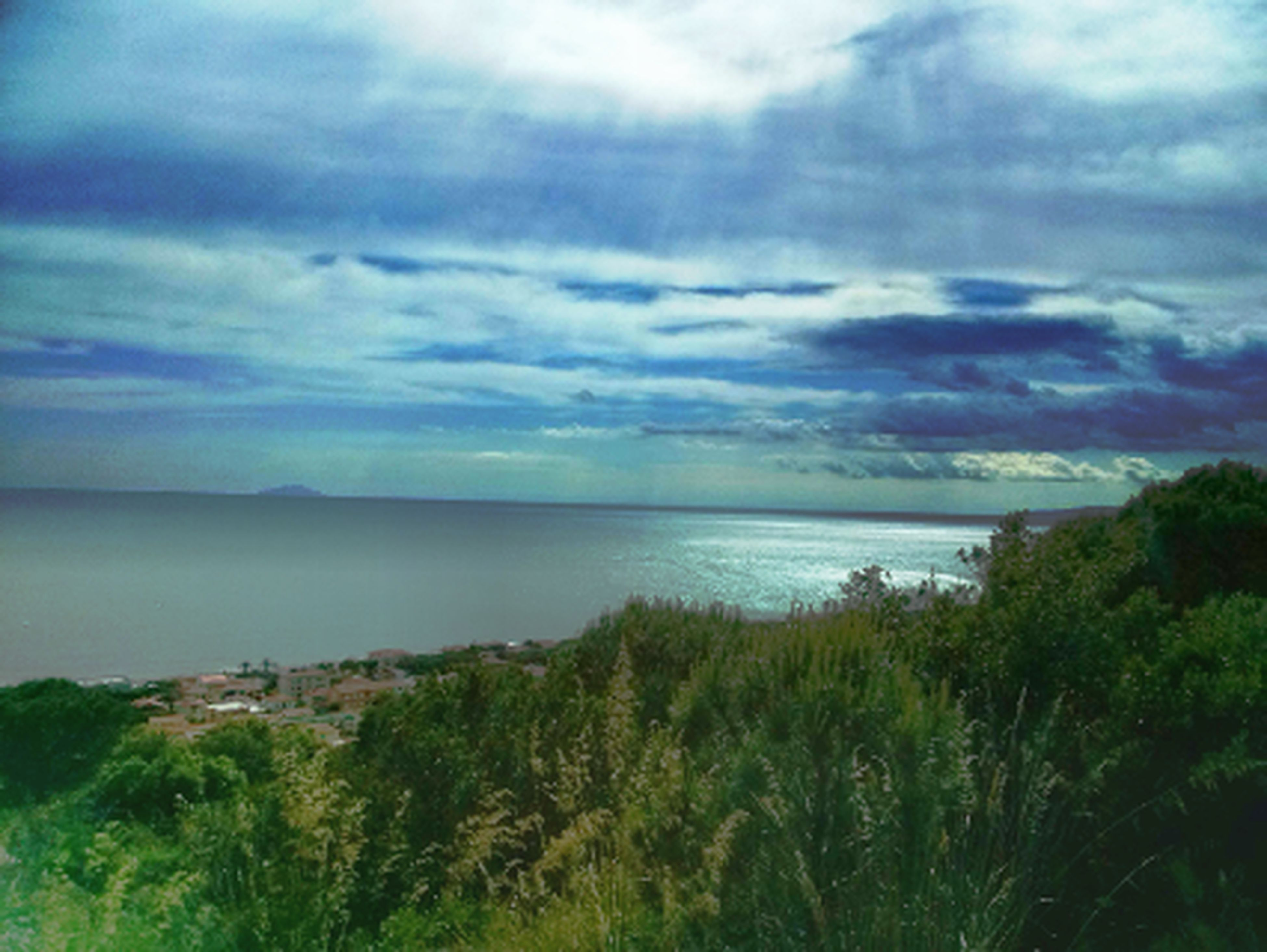 sky, sea, horizon over water, tranquil scene, water, scenics, tranquility, cloud - sky, beauty in nature, cloudy, nature, cloud, tree, idyllic, plant, beach, growth, weather, outdoors, green color