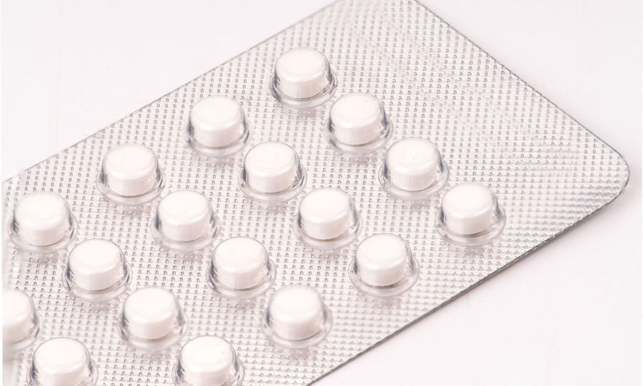 contraception pill Antibiotic Blister Pack Close-up Contraception Healthcare And Medicine High Angle View Indoors  Medicine No People Nutritional Supplement Pill Prescription Medicine Studio Shot White Background White Color