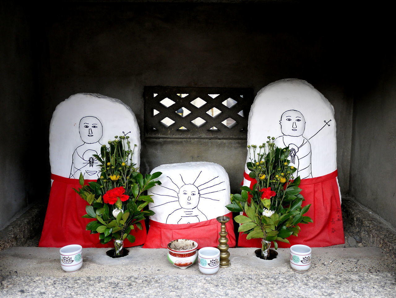 Bouquet Decoration Drawings Japanese  Neighborhood Shrine No People Ojizoo Roadside Shrine Stones Vase