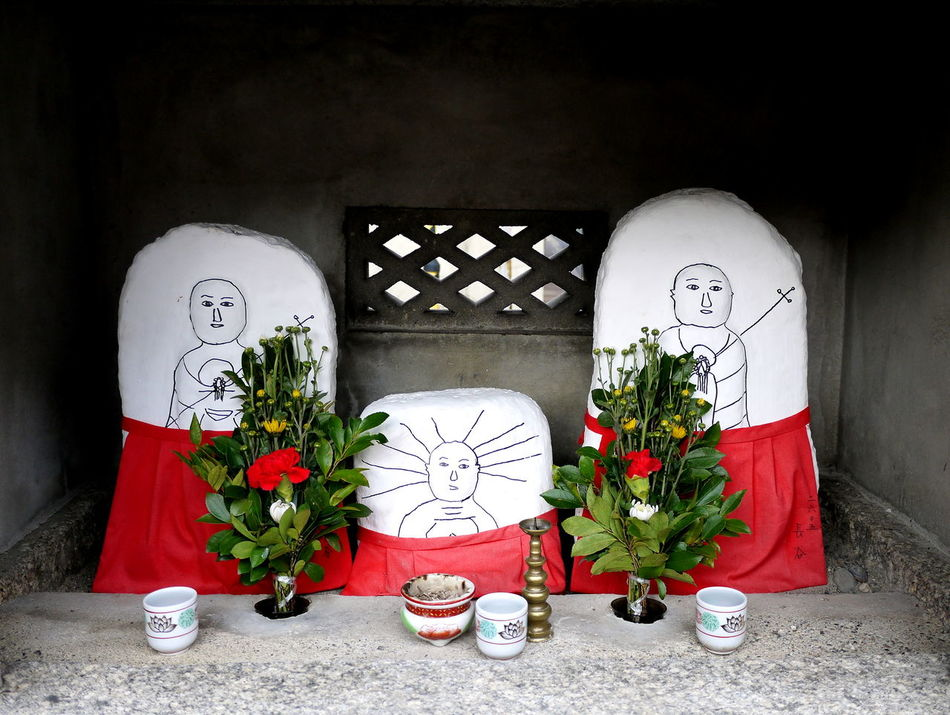Bouquet Decoration Drawings Japanese  Neighborhood Shrine No People Ojizoo Roadside Shrine Stones Vase