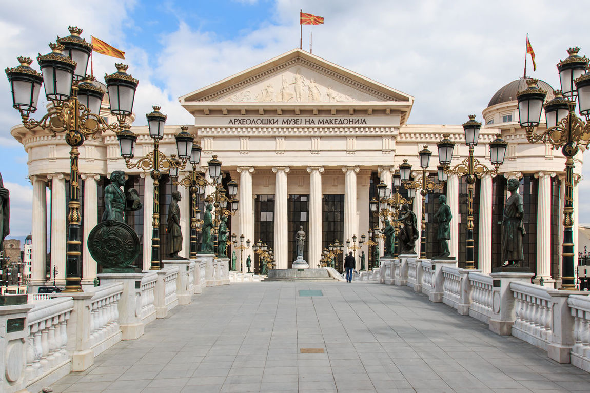Macedonian archaeological museum in Skopje, Macedonia Architectural Column Architecture Balkans Building Exterior Built Structure Day Dome East Europe Façade Famous Place Lifestyles Macedonia Outdoors Person Pillar Place Of Worship Religion Skopje Sky Spirituality Steps Tourism Tourist Travel Travel Destinations