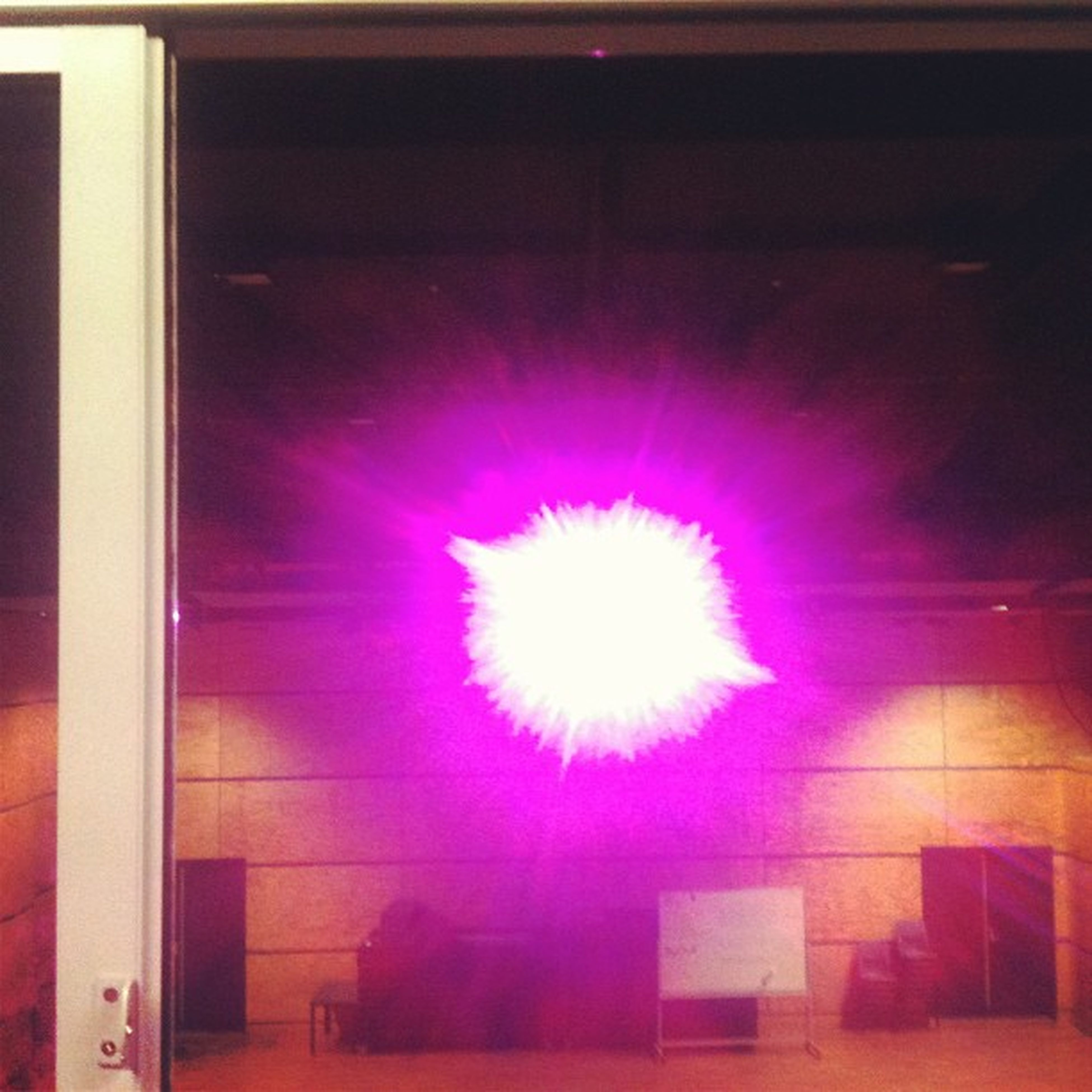 indoors, illuminated, window, built structure, architecture, flower, lighting equipment, night, pink color, glass - material, multi colored, building exterior, wall - building feature, house, no people, decoration, auto post production filter, red, home interior, purple