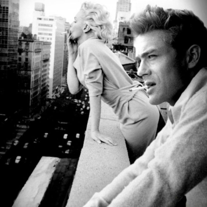 I'm in love with this picture Marilynmonroe Jamesdean Vintage Blackandwhite Love beautiful