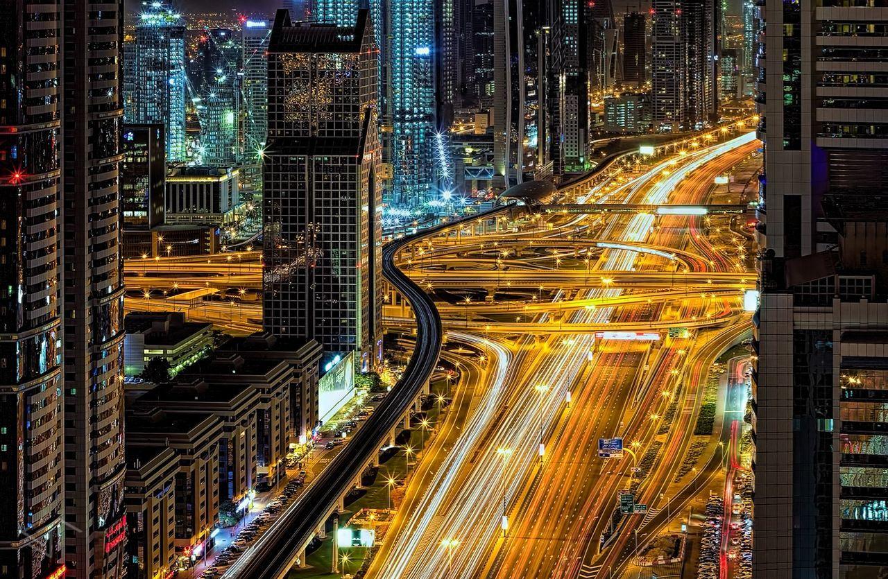 Sheik Zayed Road City Illuminated Road Light Trail Transportation Night Street Cityscape Architecture City Street Mydubai DXB Lights Buildings