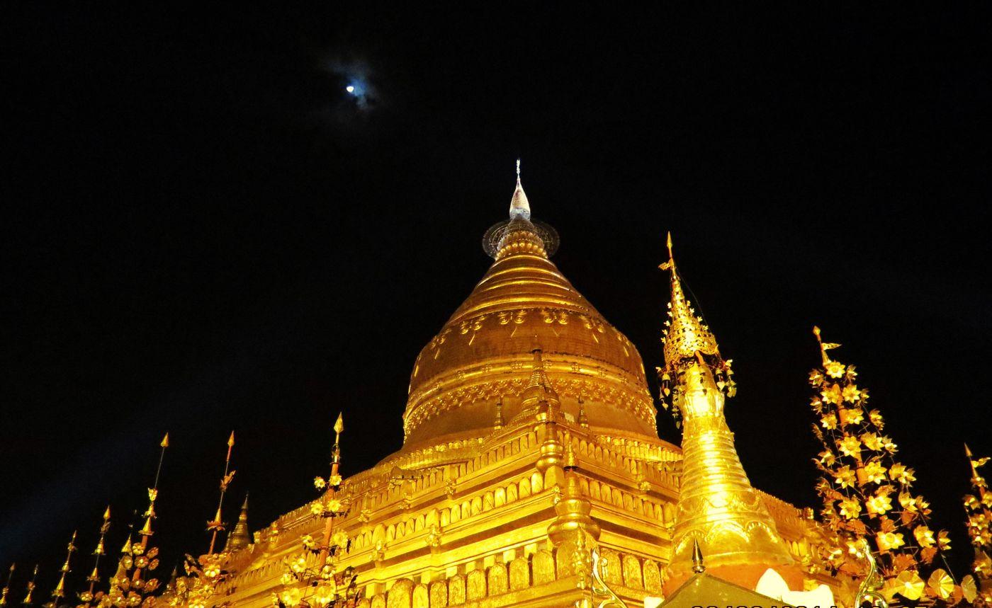 Bagan Nightshot Shwezigon Pagoda Myanmar Pagoda