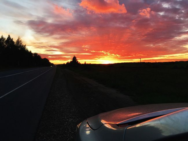 Sunset Road Landscape Transportation Car Sky Nature Country Road Orange Color Mode Of Transport Tranquil Scene Scenics Diminishing Perspective Land Vehicle The Way Forward Vanishing Point Tranquility Beauty In Nature Long Non-urban Scene First Eyeem Photo