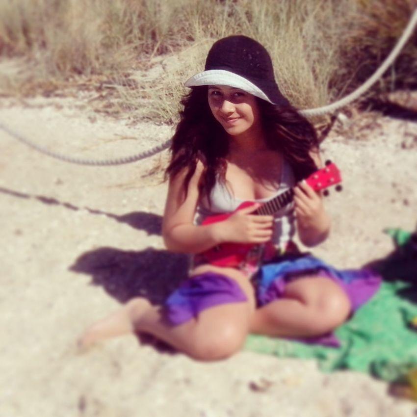 Beach Playing My Ukulele Smile ♥