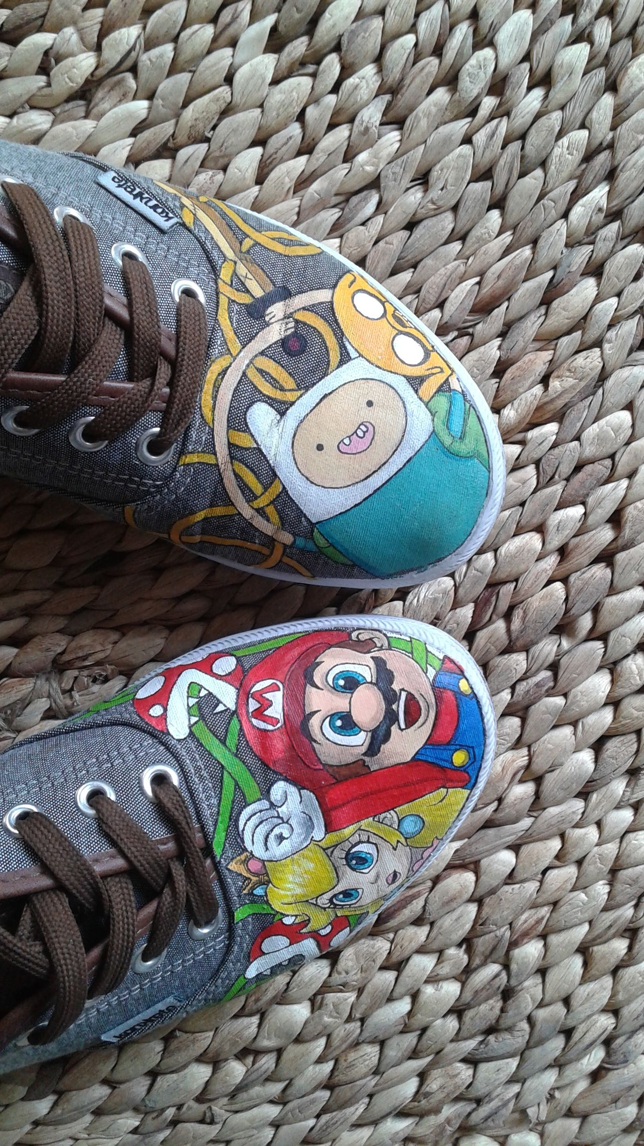 Adventure Time Art ArtWork Close-up Colorful Craft Creativity Design Finnthehuman Jakethedog Mario Bros Multi Colored No People Painting Princess Peach Shoes Super Mario Supermario