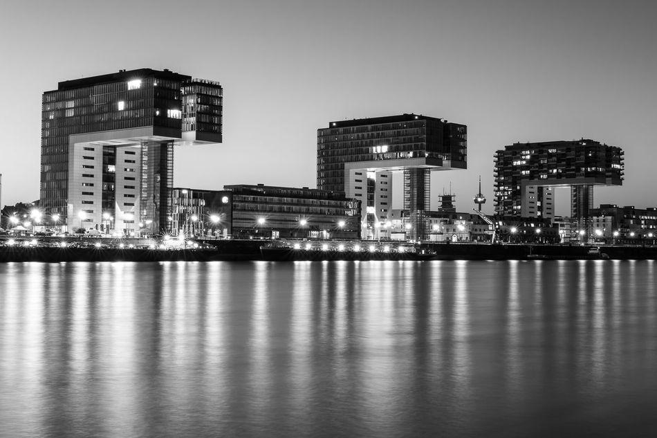 Cologne Night City Architecture Cityscape Reflection Monochrome Blackandwhite LongTime