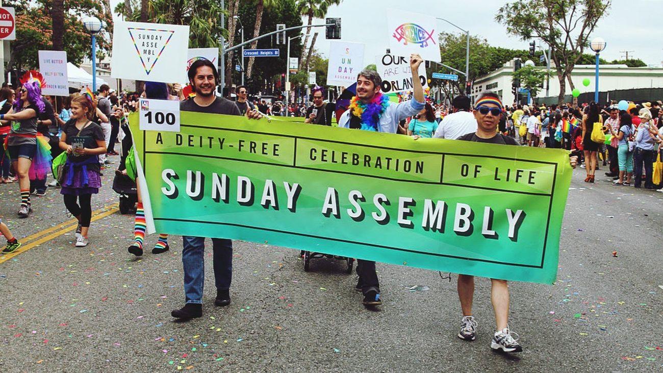 SundayAssemblyLA SundayAssembly AtheistPeace GoodWithoutGod Atheism Equality Loveislove Pride Parade Pride2016 Weho Pride Westhollywood GoodWithoutGods Parade City Street Not Taken By Me