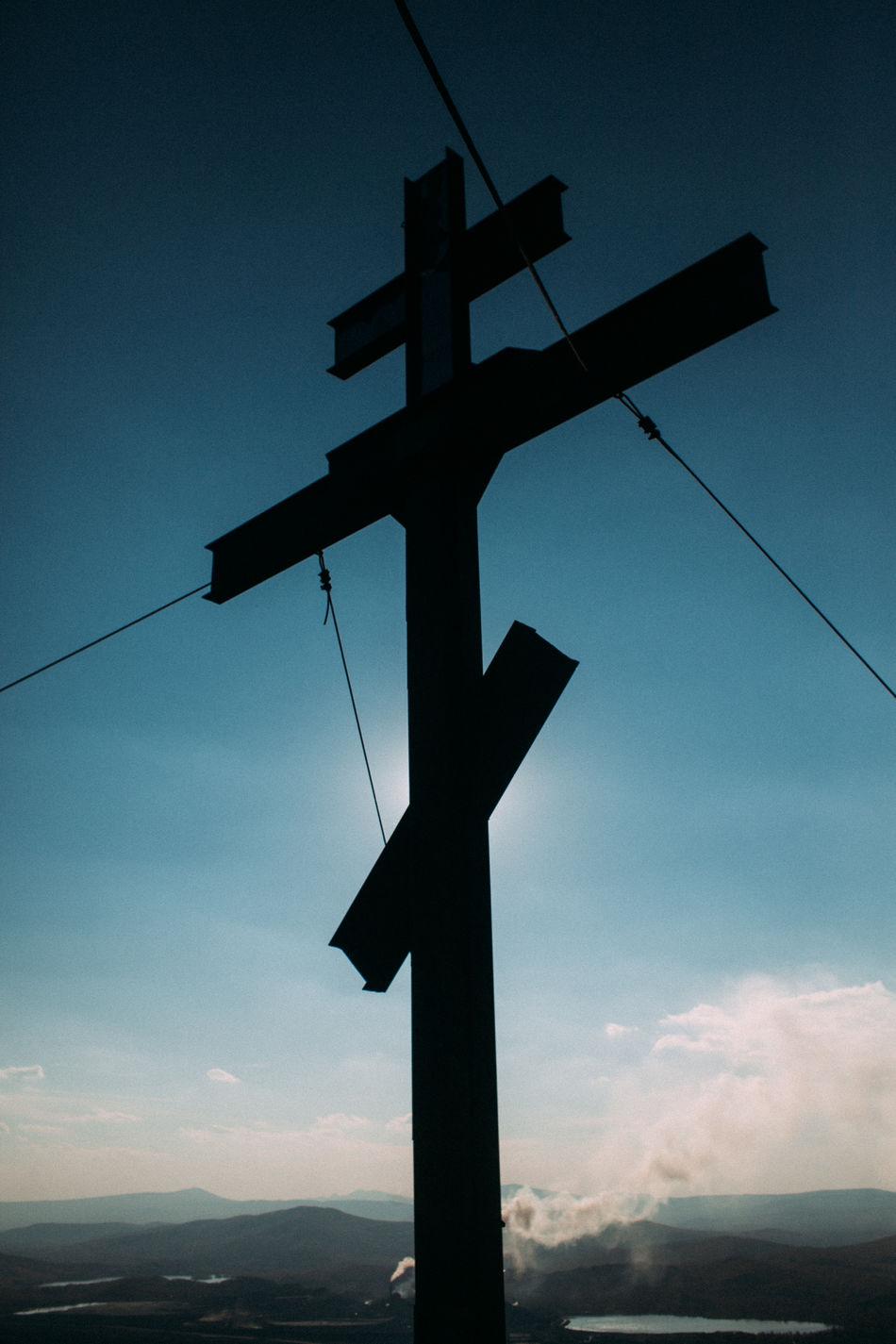Cross Day Karabash No People Outdoors Religion Russia Sky Sun