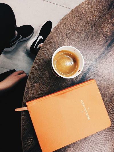 Table High Angle View Indoors  Drink Coffee Pullandbear Planner Planners & Coffee Bullet Journal First Eyeem Photo