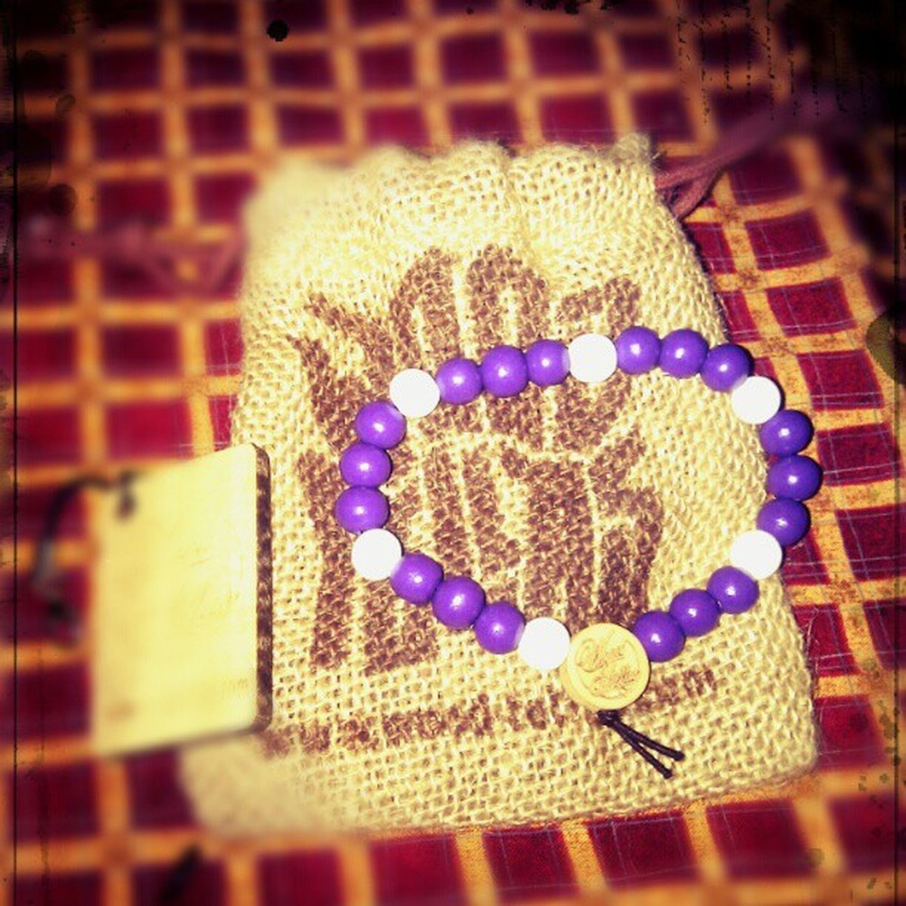 My first birthday gift from @naranarusha :)) Birthdaygift Birthday Woodfellaz Woodbeads purple white