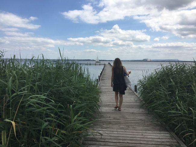 Walking Pier Water Woman Clouds Lake Reed Reeds At The Lake