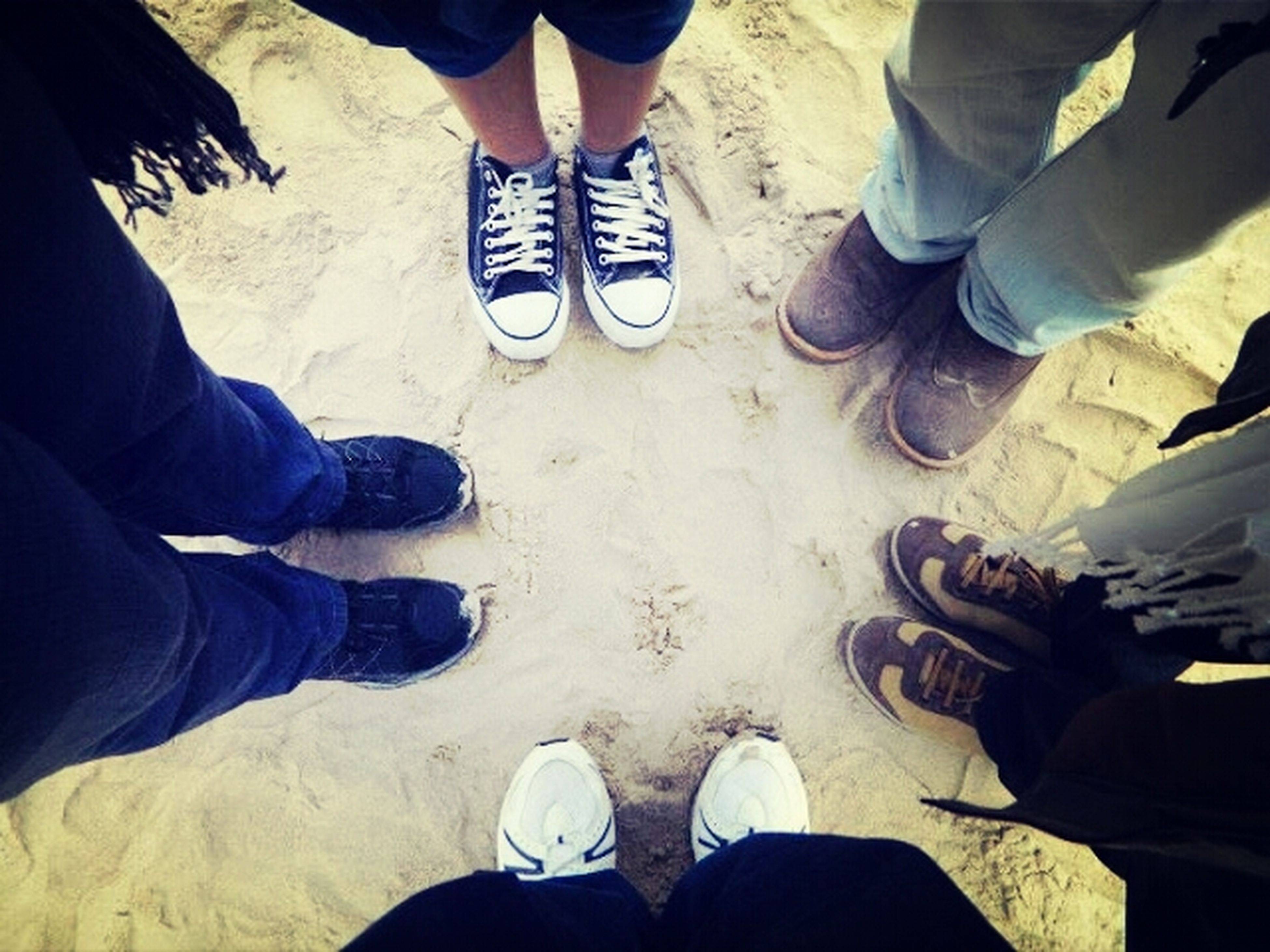 low section, person, shoe, men, lifestyles, standing, human foot, leisure activity, togetherness, jeans, casual clothing, footwear, personal perspective, high angle view, bonding