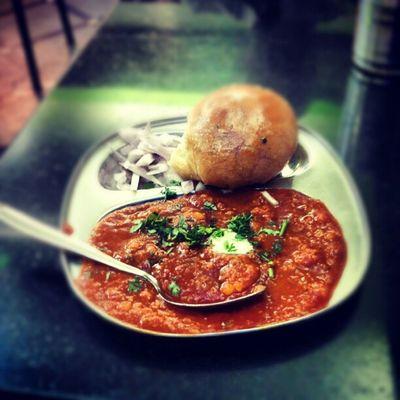Enjoying this delicious meal :-D I9003 Pav bahji Mumbai Photography
