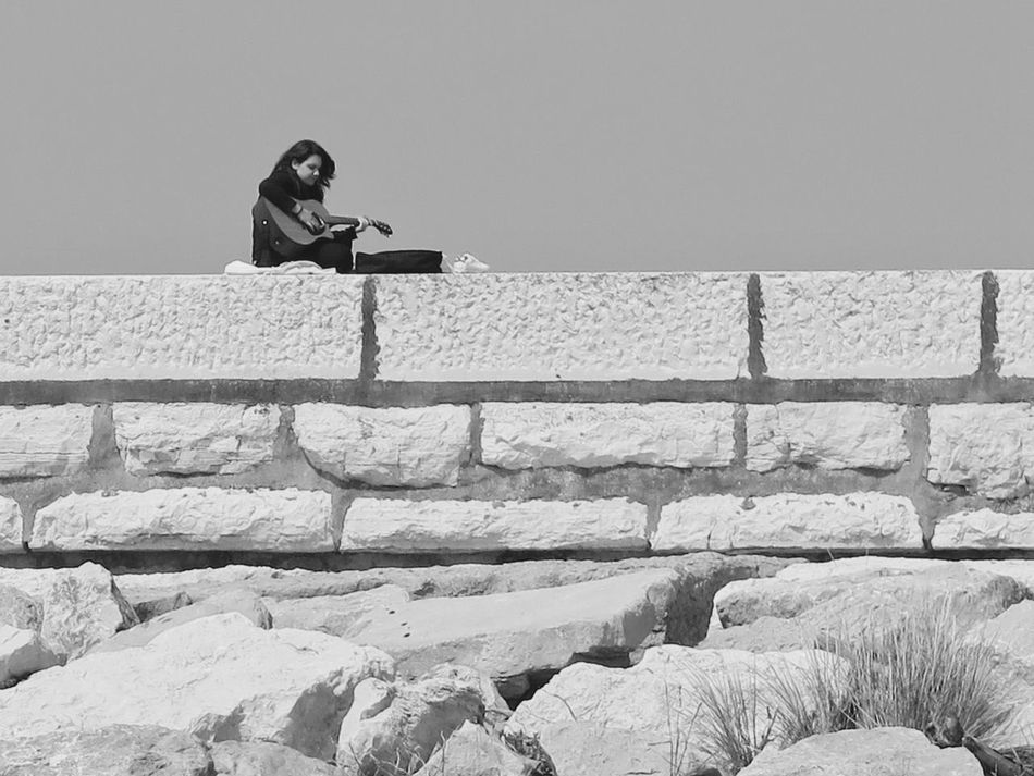 Adult Adults Only Beautiful Woman Black & White Black And White Black And White Photography Clear Sky Day Full Length Girl One Person One Young Woman Only Outdoors People Real People Retaining Wall Sea Sky Solitary Solitude The Week On Eyem Water Women Young Adult Young Women