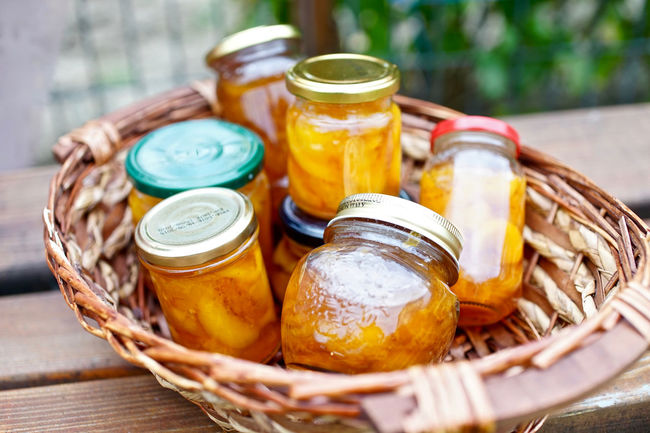 Freshness Food And Drink Close-up Focus On Foreground Group Of Objects Jam Jars  Jar Peach Jam Orange Color Large Group Of Objects Picking Yellow Fruit Vibrant Color Peaches Wooden Autumn Autumn Colors