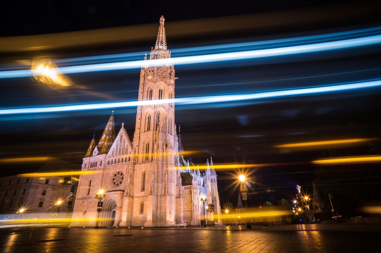 Budapest Matyas Church Long Exposure Night Lights Nightphotography Church Cities At Night