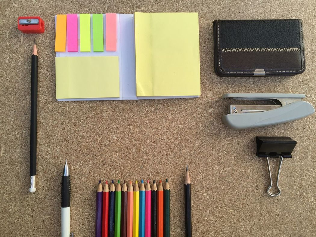 Sticky Notes Education Accesories Office Color Pencil Pencil Backgrounds Plywood Paper Stationary School Copy Space Sharpener Stapler Clipper Contacts