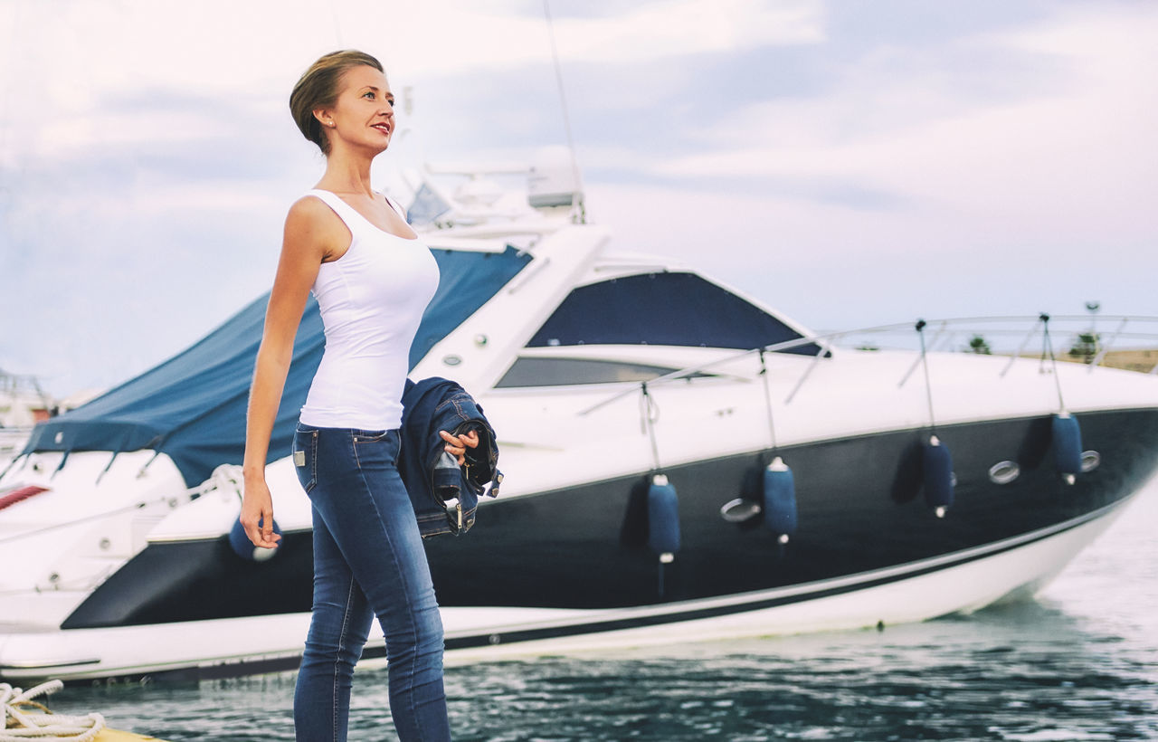 Attractive woman in a harbour Beautiful Woman Benidorm Casual Clothing Cloud - Sky Cruise Ship Day Daylight Harbor Harbour Leisure Activity Mediterranean Sea Nautical Vessel One Person Outdoors Port Sailing Sky SPAIN Sunlight Waterfront Woman Yacht Yachting Young Adult Young Women