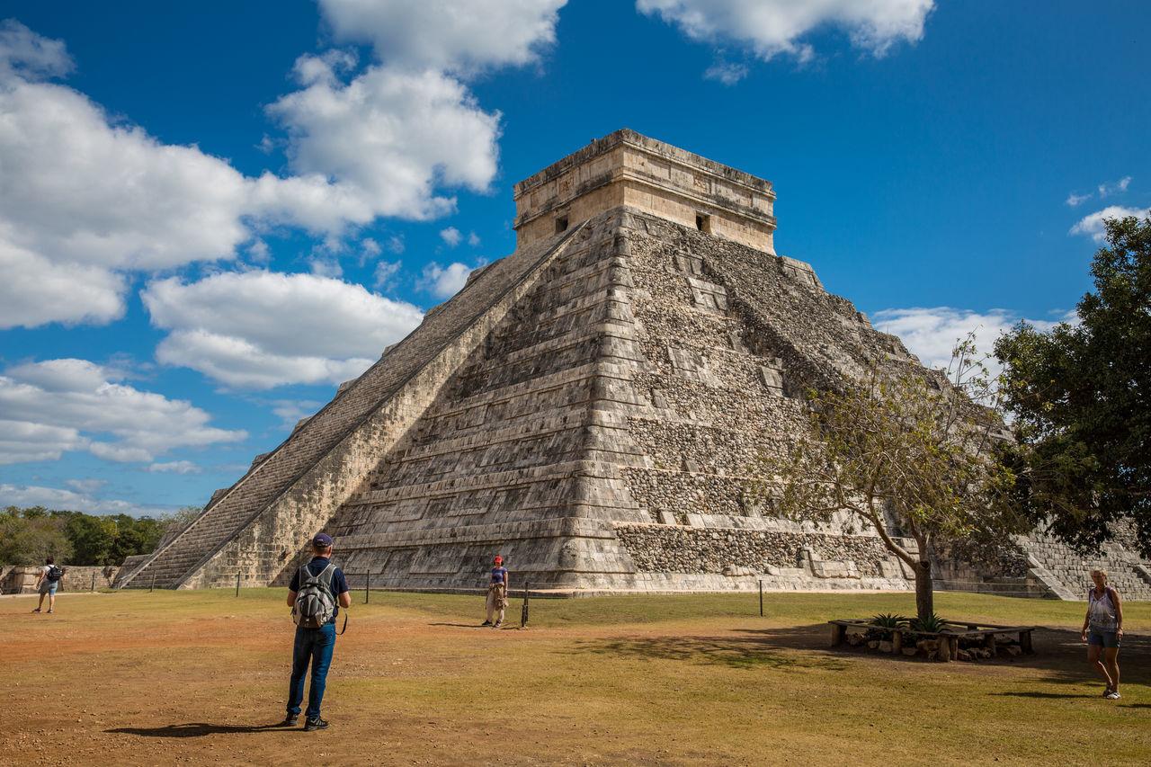 Blue Sky Chichen Itza Explore Exploring Maya Mayan Ruins Mayanculture Mexico Pyramid Travel Travel Destinations Vacations World Wonder Yucatan Mexico Yúcatan