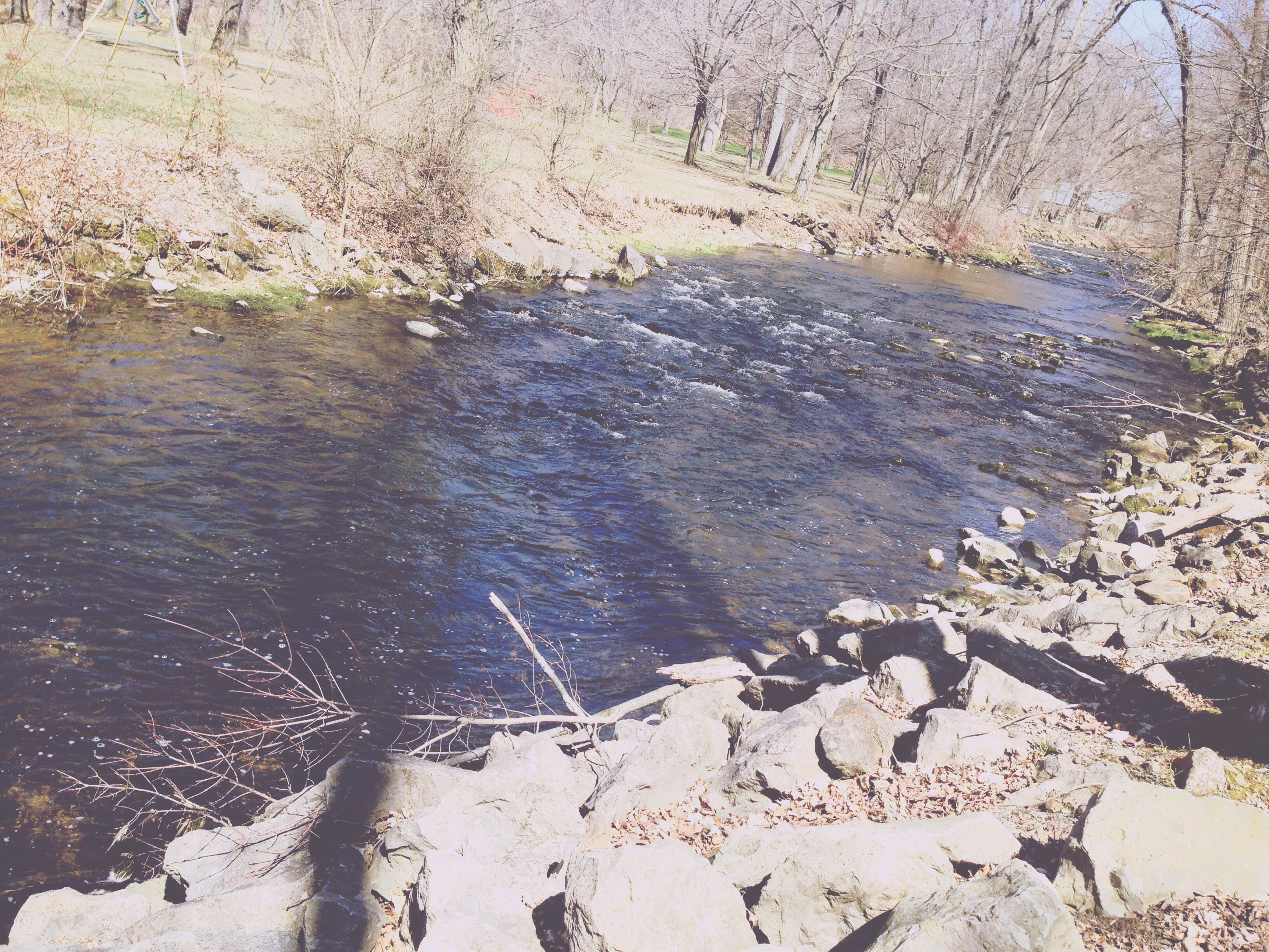 water, rock - object, tranquility, nature, tranquil scene, high angle view, reflection, beauty in nature, stone - object, scenics, river, stream, day, outdoors, lake, stone, sunlight, rippled, shore, no people