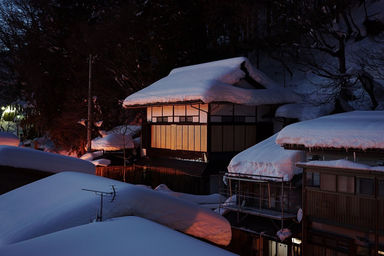 Built Structure Architecture Cold Temperature Illuminated Tree Winter No People Building Exterior Snow Roof Night Nature Outdoors Mountain Beauty In Nature Sky Hot Spring Hotel View Old Buildings Onsen Old Town Japanese Traditional Japanese Architecture Wooden House Shibu Onsen Miles Away