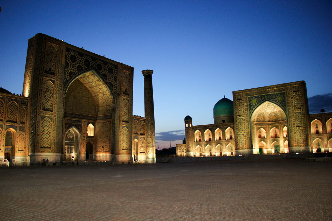 Arch Architecture Building Exterior Built Structure Clear Sky Day Dome Dusk Evening Evening Sky History Islamic Architecture Madrassa Monument No People Outdoors Place Of Worship Registan Religion Samarkand Samarqand Silk Road Sky Travel Destinations Uzbekistan