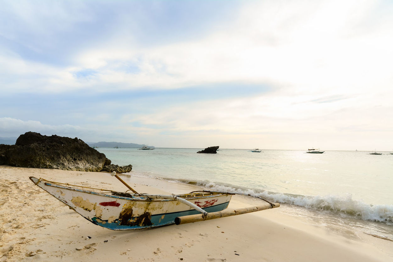 Beach Beauty In Nature Boat Boracay Calm Cloud Cloud - Sky Cloudy Coastline Day Horizon Over Water Idyllic Mode Of Transport Nature Non-urban Scene Outdoors Remote Scenics Sea Shore Sky Tranquil Scene Tranquility Vacations Water