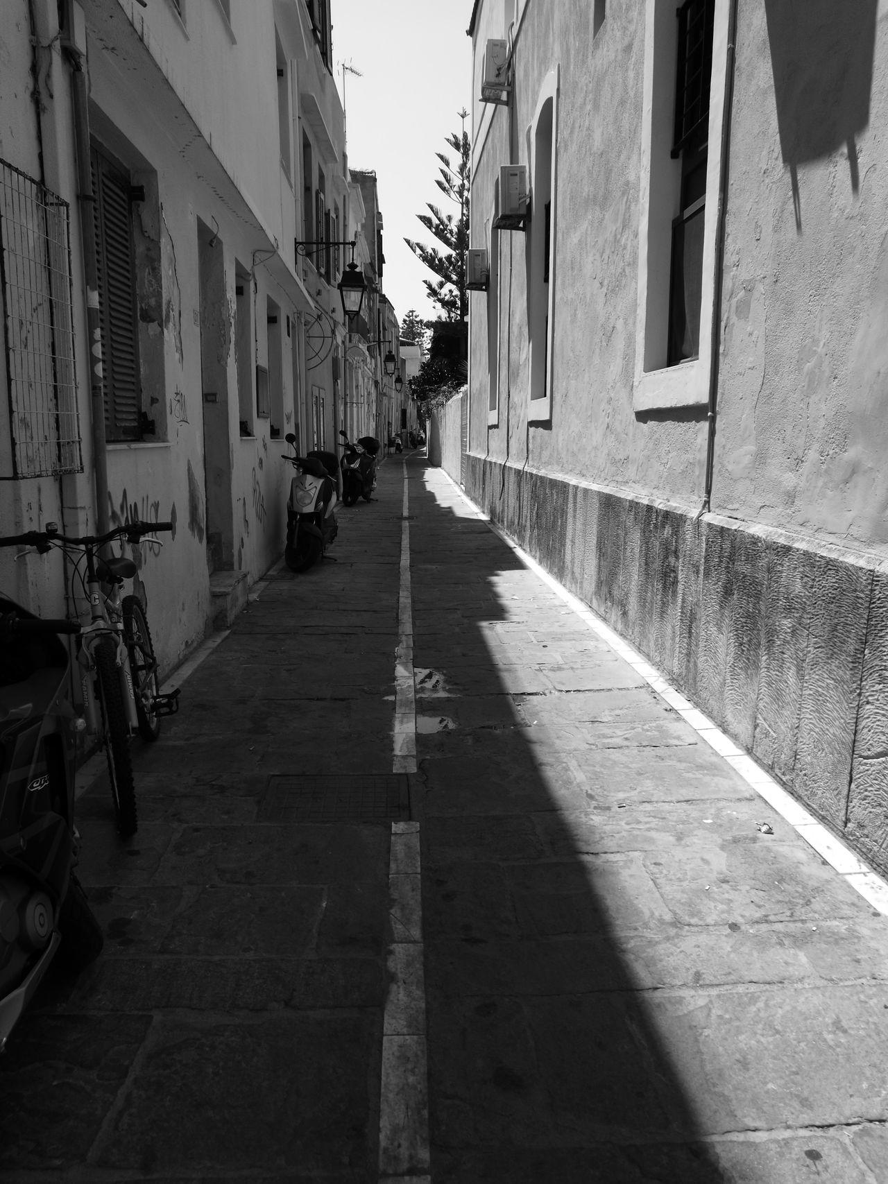 Street Photography Street No People, Bikes Motorbikes Way Narrow Street Black Black And White Black & White Summer Time