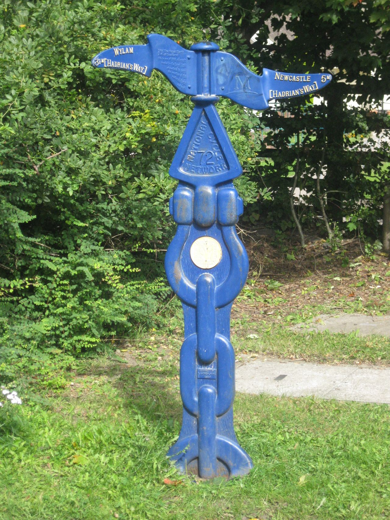 Blue Distance Distance Marker Hadrian's Cycleway Information Information Sign No People Outdoors