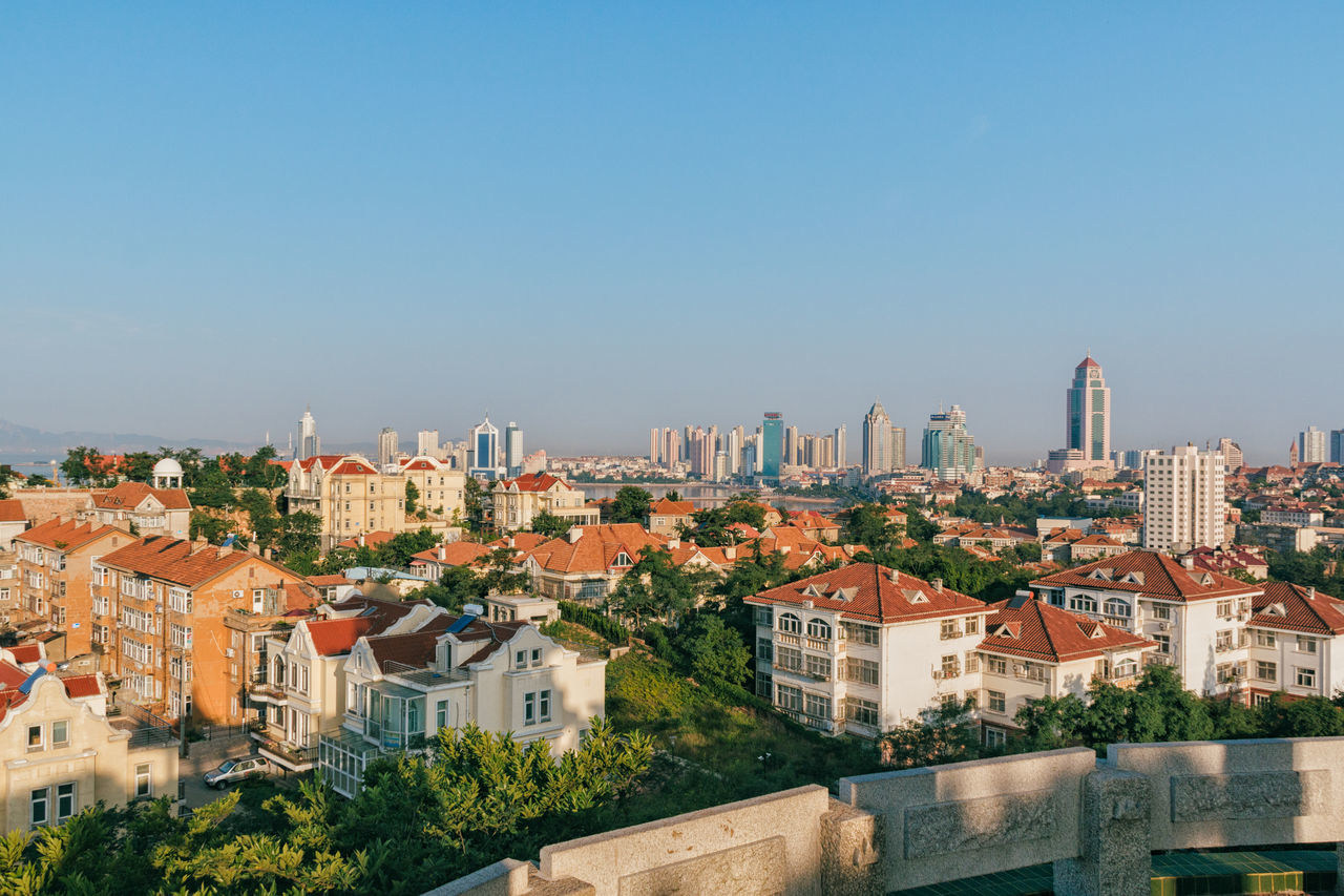 Morning of Qingdao Architecture City Cityscape Community Day House No People Outdoors Residential Building Roof Sky Travel Destinations Tree Urban Skyline
