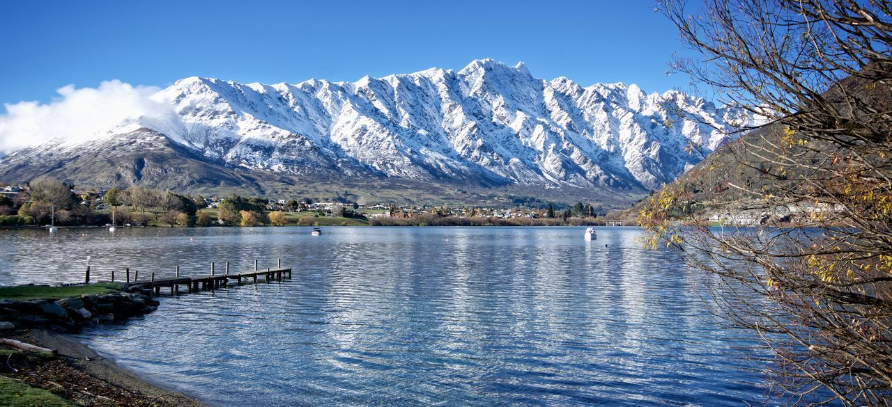 View to The Remarkables, Queenstown, NZ Calm Clear Sky Lake Landscape Mountain NZ NZ South Island Queenstown Nz Scenics Snow Solitude The Remarkables Tourism Tranquil Scene Tranquility Water Wharf Winter