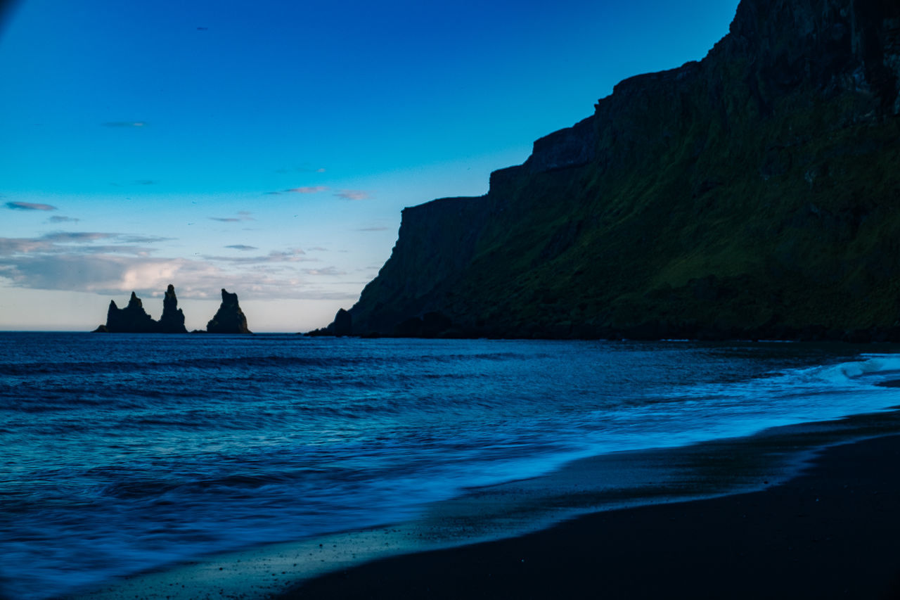 Iceland Vík í Mýrdal Beauty In Nature Blue Day Horizon Over Water Nature No People Outdoors Scenics Sea Sky Tranquil Scene Tranquility Water Waterfront