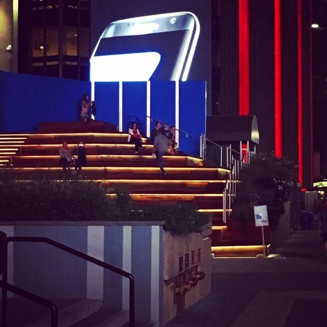 Blue Illuminated Night Outdoors Street