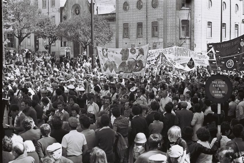 1979 Abundance Architecture Building Exterior Built Structure Celebration City City Street Crowd Day Event Large Group Of People Men Outdoors Pedestrian Performance Person Politics Portuguese Revolution 1974 Protest Spectator Standing Street Togetherness Unity