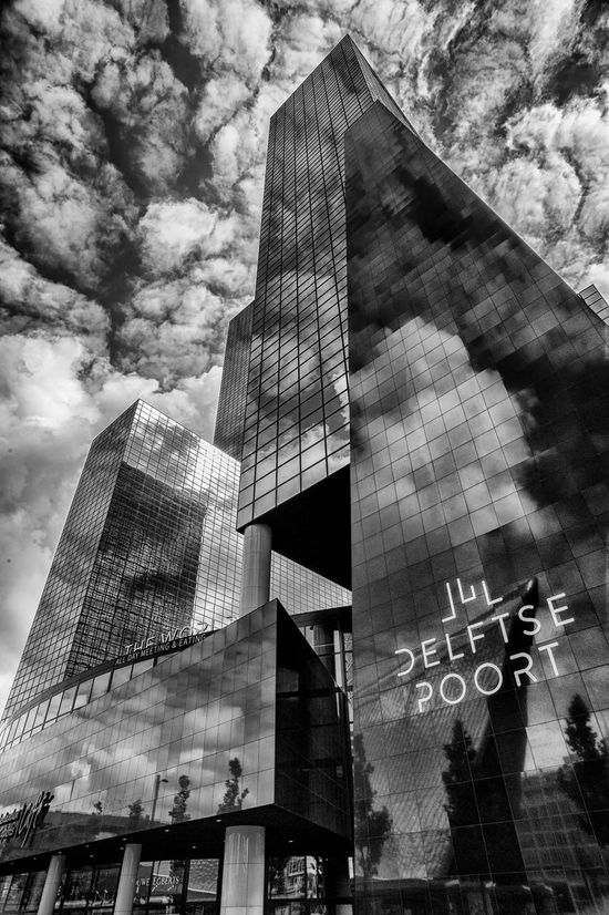 Delftse Poort, Rotterdam Architecture B&w Building Exterior Built Structure Business City Cloud - Sky Clouds Day Delftse Poort Low Angle View Modern Netherlands Netherlands ❤ Office Building Exterior Outdoors Reflection Rotterdam Sky Sky And Clouds Skyscraper