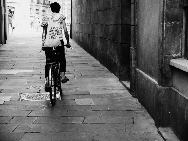 Monochrome Photography Bicycle Girl Live More Work Less Praise Quote Letters B&w Black And White Urban City Street City Life