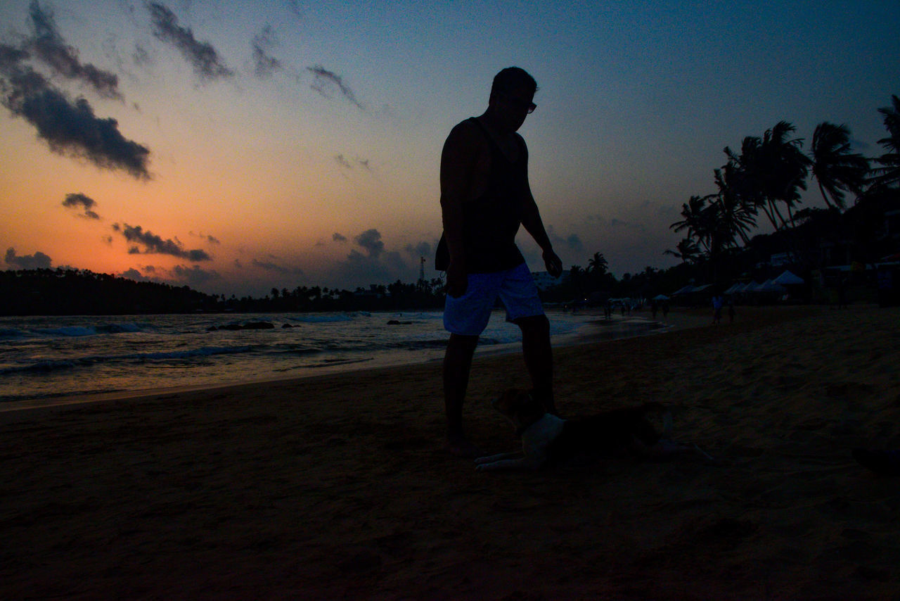 sunset, beach, full length, sand, nature, sky, silhouette, real people, sea, vacations, one person, leisure activity, playing, scenics, lifestyles, beauty in nature, men, standing, outdoors, water, tree, young adult, people