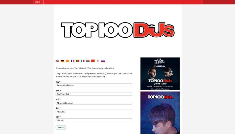 MY Votes For DJ MAG Top 100 Djs of 2016 : 1. Armin Van Buuren |AvB|☝ 2. Paul Van Dyk -PvD- 3. Above & Beyond \A&B/ 4. Aly & Fila /FSOE\ 5. Vini Vici .vV/ AvB PVD Ab Aly & Fila Vini Vici Vote Here —> https://top100djsvote.djmag.com/