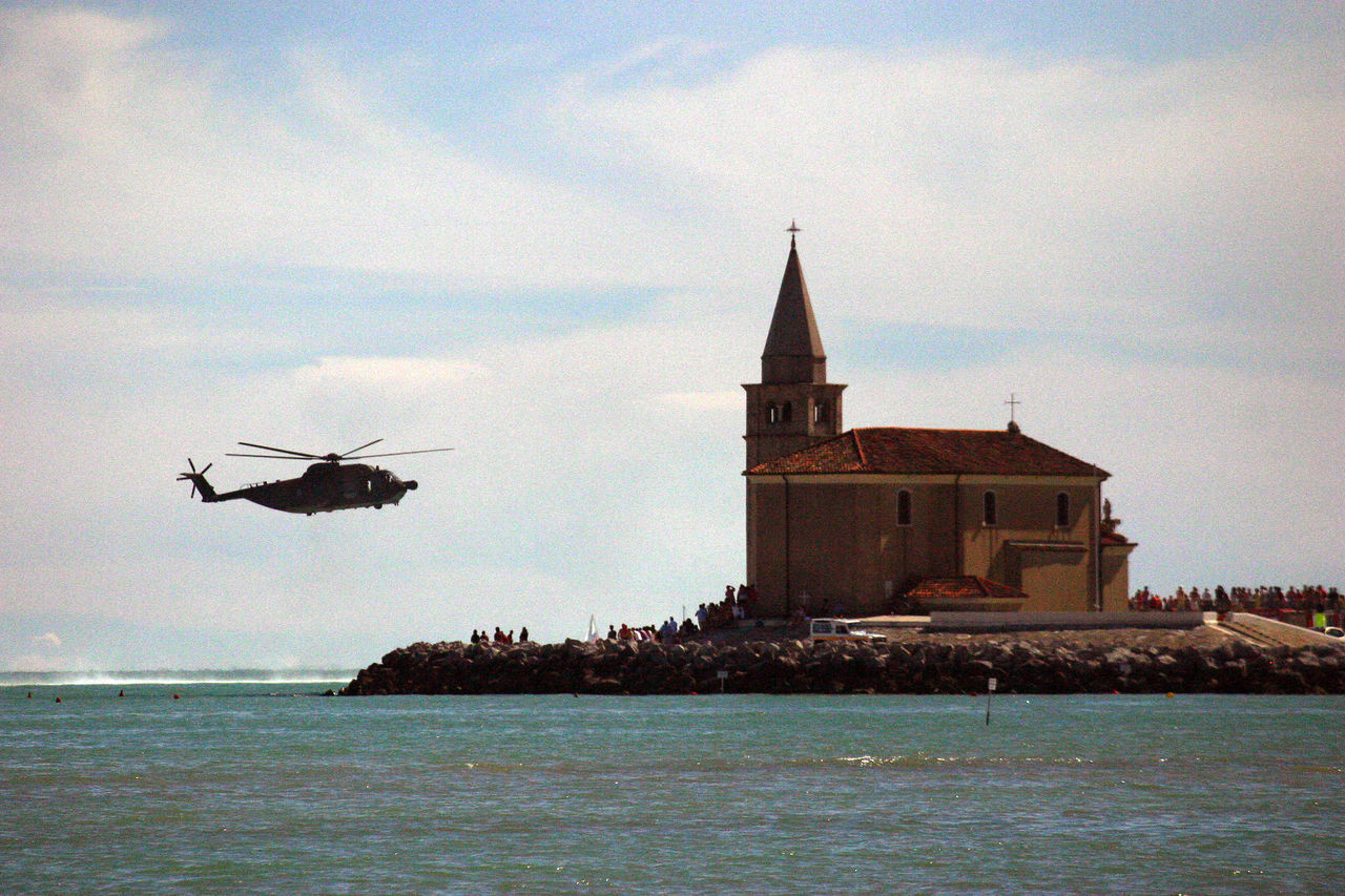 Adriatic Coast Caorle Church Day Flight Helicopter Italy❤️ Military Helicopter No People Outdoors Sea Sea And Sky Sky Sky And Clouds Summer