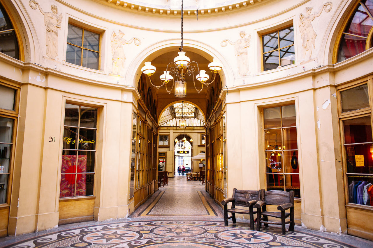 Galerie Vivienne Architectural Column Architecture Building Exterior Capital Chair City Decoration France Galerie Vivienne Light Luxury Mall Paris Shopping Urban Vintage Warm