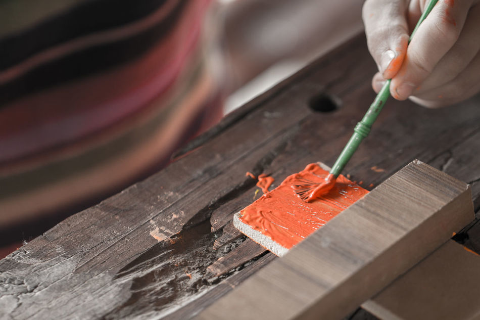 Human Hand Human Body Part Working Work Tool Craftsperson Wood - Material Close-up Manual Worker Painting Brush Orange
