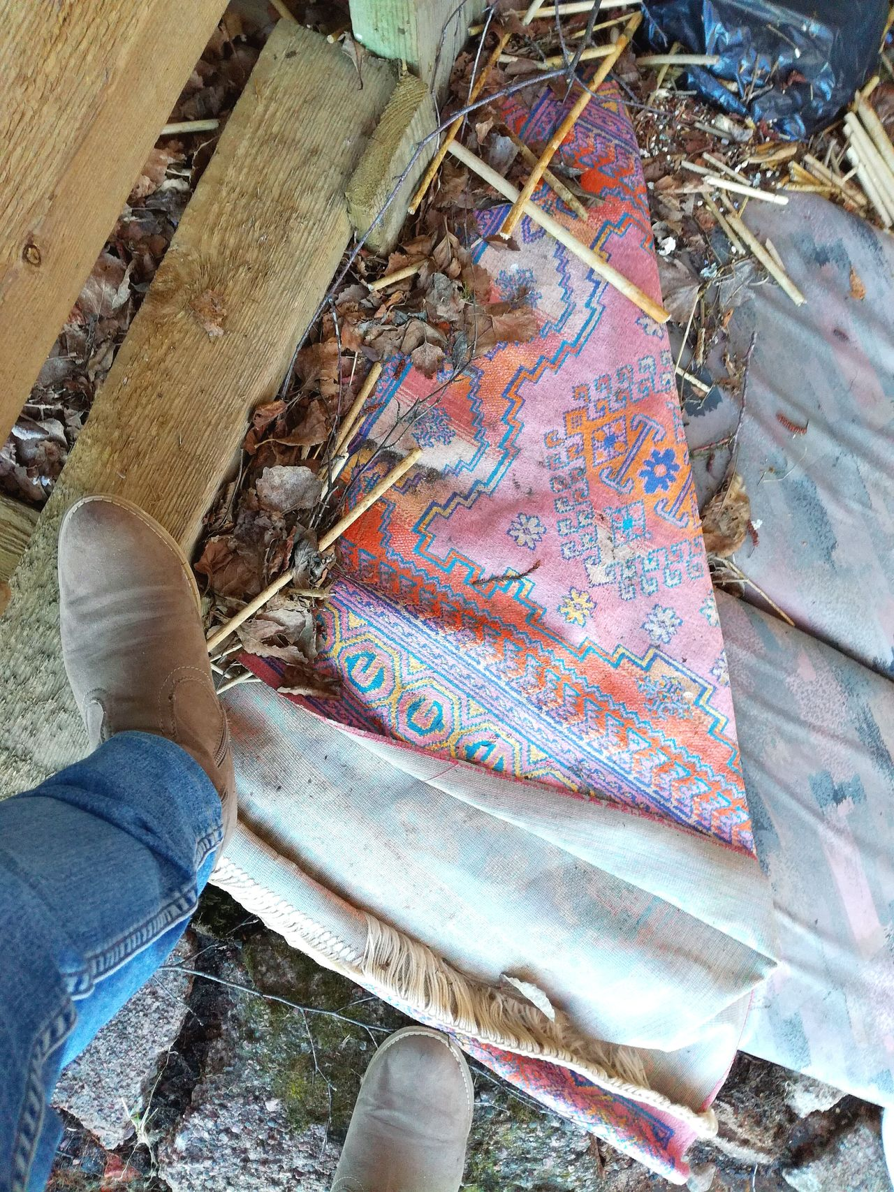 High Angle View Low Section Human Leg Jeans One Person Fabric Textile Outdoors Carpet Abandoned Places Pastel Colors Feet Boots