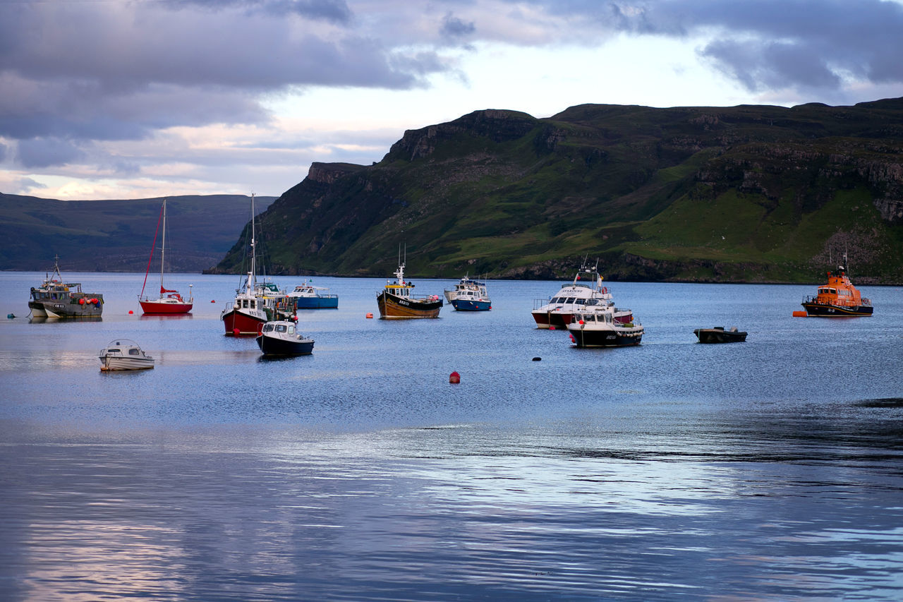Portree Harbour and Pier Beauty In Nature Cloud - Sky Day Harbour Moored Mountain Nature Nautical Vessel No People Outdoors Pier Portree Scenics Sea Sky Tranquil Scene Tranquility Transportation Travel Destinations Water
