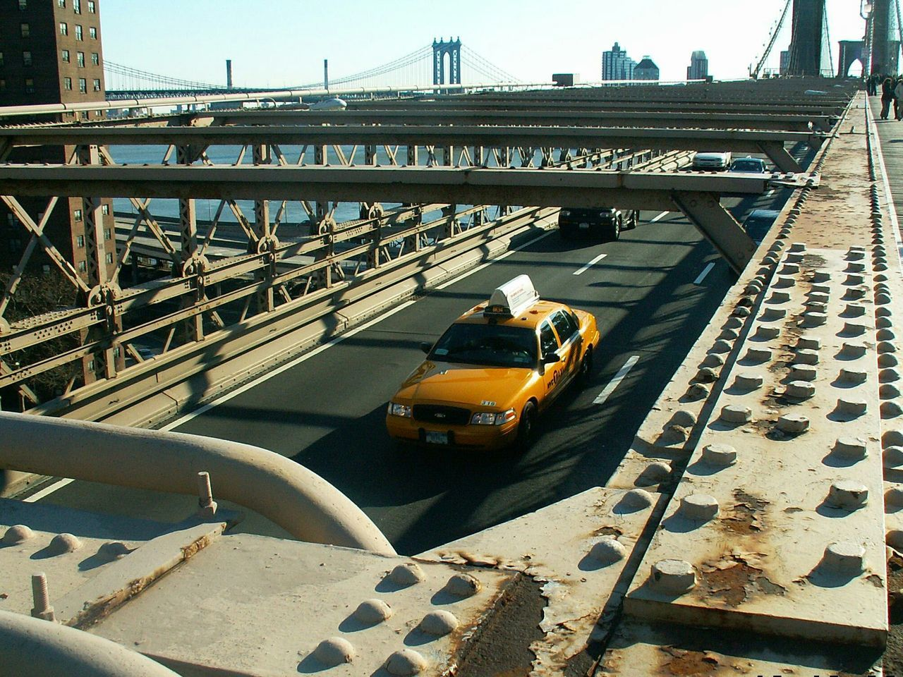 High Angle View Of Car On Suspended Bridge, Metal Structure