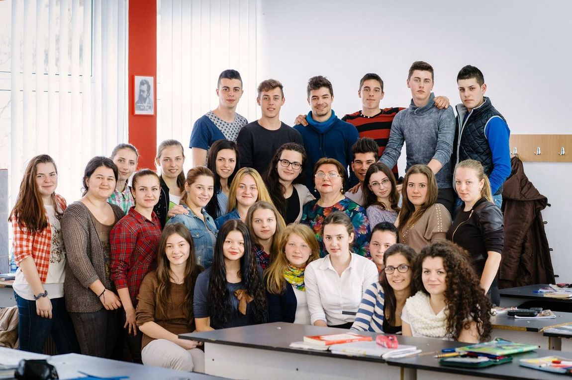 School Group Photo My Math Teacher Classmates Final Year 12th Grade  Taking Photos That's Me Wearing Glasses Stand On The Right Besides Teacher