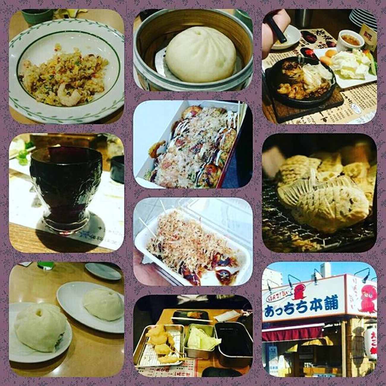 本日食べたものもの。笑 たい焼き タコ焼き 串カツ 大阪 なんば 新世界 西成 南森町 中崎町駅