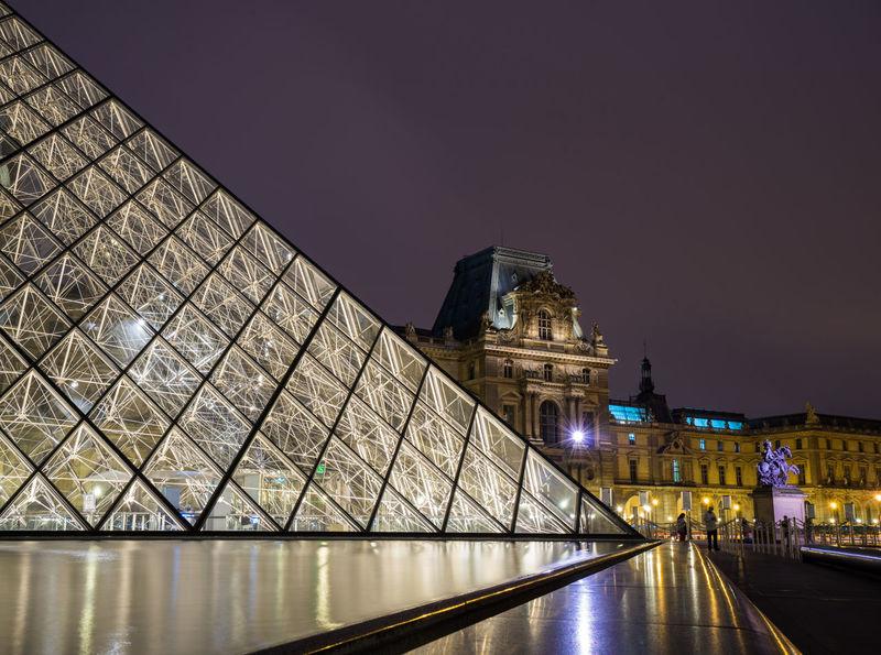 Louvre France Louvre Nightphotography Paris Building Glass Monument Museum